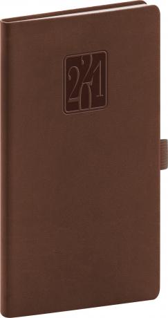 Vreckový diár Vivella Classic 2021, hnedý 9 × 15,5 cm