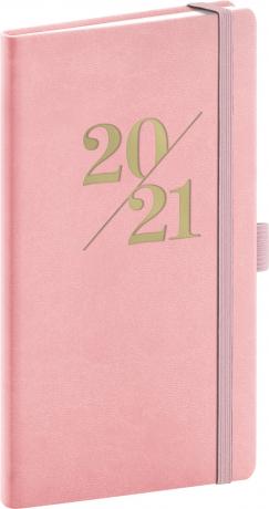 Vreckový diár Vivella Fun 2021, ružový, 9 × 15,5 cm