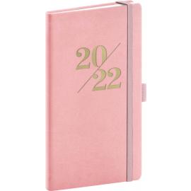 Vreckový diár Vivella Fun 2022, ružový, 9 × 15,5 cm