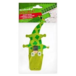 Krokodíl, drevený štipec s magnetom a pútkom na pero