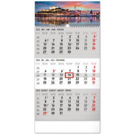 Nástenný kalendár 3–mesačný Bratislava šedý – so slovenskými menami 2022, 29,5 × 43 cm