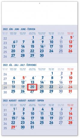 Nástenný kalendár 3–mesačný štandard modrý – so slovenskými menami 2022, 29,5 × 43 cm