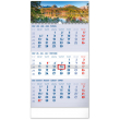 Nástenný kalendár 3–mesačný Tatry modrý – so slovenskými menami 2022, 29,5 × 43 cm