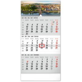 Nástenný kalendár 3mesačný Bratislava šedý – so slovenskými menami SK 2021, 29,5 × 43 cm