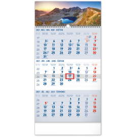 Nástenný kalendár 3mesačný Tatry modrý – so slovenskými menami SK 2021, 29,5 × 43 cm