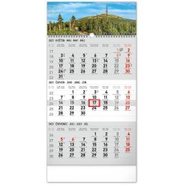 Nástenný kalendár 3měsíční Krajina šedý – s českými jmény CZ 2021, 29,5 × 43 cm