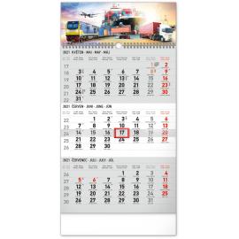 Nástenný kalendár 3měsíční Špedícia šedý – s českými jmény CZ 2021, 29,5 × 43 cm