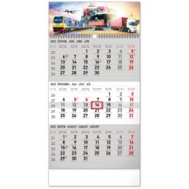 Nástenný kalendár 3–mesačný Špedícia šedý – s českými jmény CZ 2022, 29,5 × 43 cm