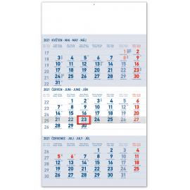 Nástenný kalendár 3měsíční standard modrý – s českými jmény CZ 2021, 29,5 × 43 cm