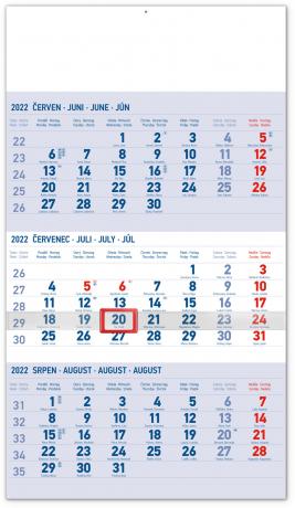 Nástenný kalendár 3–mesačný standard modrý – s českými jmény CZ 2022, 29,5 × 43 cm