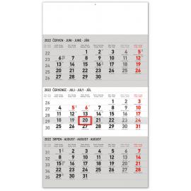 Nástenný kalendár 3–mesačný standard šedý – s českými jmény CZ 2022, 29,5 × 43 cm