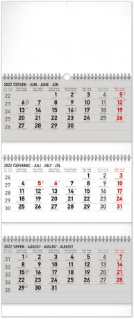 Nástenný kalendár 3–mesačný standard skladací CZ 2022, 29,5 × 69,5 cm