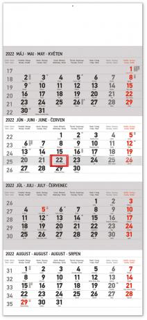 Nástenný kalendár 4–mesačný štandard 2022, 29,5 × 57 cm