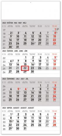 Nástenný kalendár 4–mesačný standard 2022, 29,5 × 57 cm