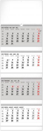 Nástenný kalendár 4–mesačný standard skladací 2022, 29,5 × 84,5 cm