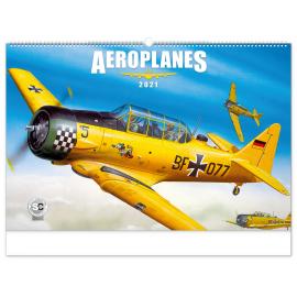 Nástenný kalendár Aeroplanes – Jaroslav Velc 2021, 64 × 42 cm