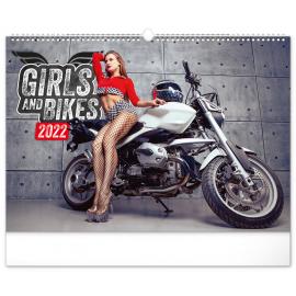 Nástenný kalendár Girls & Bikes 2022, 48 × 33 cm