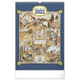 Nástenný kalendár Josef Lada – Mesiace CZ 2022, 33 × 46 cm
