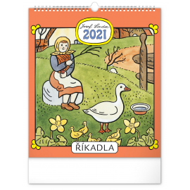 Nástěnný kalendár Josef Lada – Riekanky CZ 2021, 30 × 34 cm