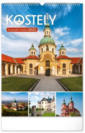 Nástenný kalendár Kostoly a pútnické miesta 2022, 33 × 46 cm