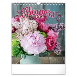 Nástenný kalendár Kvety 2021, 30 × 34 cm