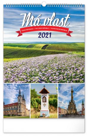 Nástenný kalendár Má vlasť CZ 2021, 33 × 46 cm
