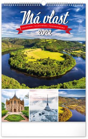 Nástenný kalendár Má vlasť CZ 2022, 33 × 46 cm