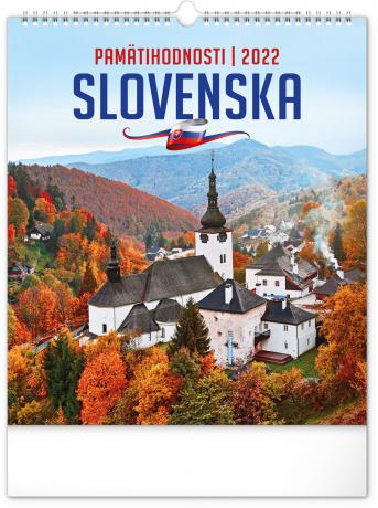 Nástenný kalendár Pamätihodnosti Slovenska 2022, 30 × 34 cm