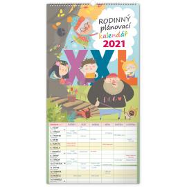 Nástěnný kalendár Rodinný plánovací XXL CZ 2021, 33 × 64 cm