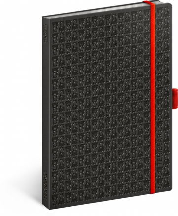 Notes Teribear, čierny, linajkovaný, 15 x 21 cm, A5