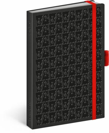 Notes Teribear, čierny, linajkovaný, 9 x 13 cm