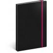 Notes Tucson čierny/ružový, linajkovaný, 13 × 21 cm