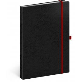 Notes Vivella Classic čierny/červený, linajkovaný, 15 × 21 cm