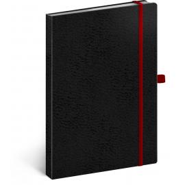 Notes Vivella Classic čierny/červený, bodkovaný, 15 x 21 cm