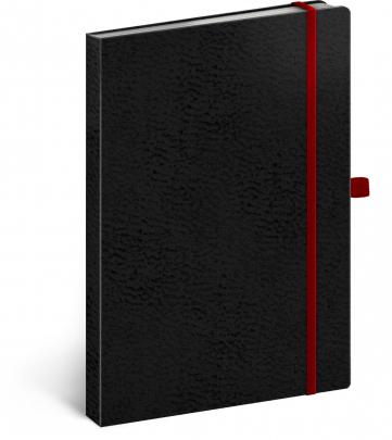 Notes Vivella Classic čierny/červený, bodkovaný, 15 × 21 cm