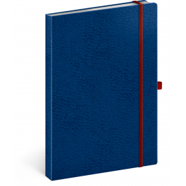 Notes Vivella Classic modrý/červený, linajkovaný, 15 × 21 cm