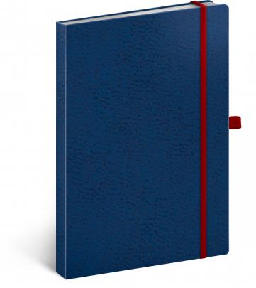 Notes Vivella Classic modrý/červený, bodkovaný, 15 × 21 cm