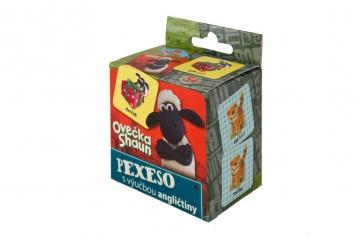 Pexeso Ovečka Shaun SK, s výučbou angličtiny, 36 kartičiek v krabičke