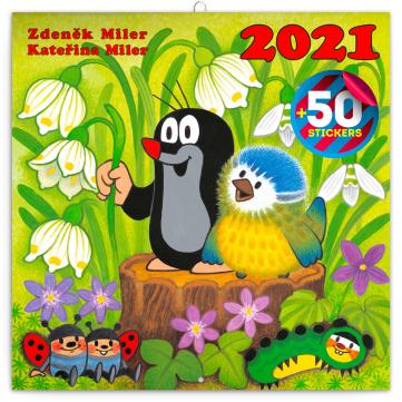 Poznámkový kalendár Krtko 2021, s 50 samolepkami, 30 × 30 cm