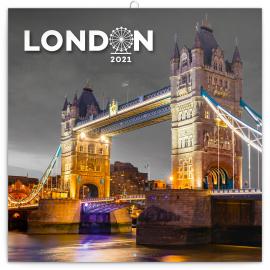 Poznámkový kalendár Londýn 2021, 30 × 30 cm