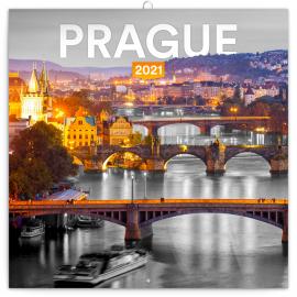 Poznámkový kalendár Praha čiernobiela 2021, 30 × 30 cm