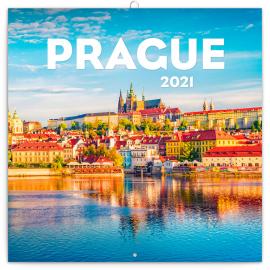 Poznámkový kalendár Praha letná 2021, 30 × 30 cm