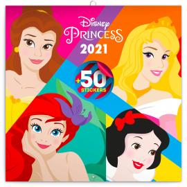 Poznámkový kalendár Princezné 2021, s 50 samolepkami, 30 × 30 cm