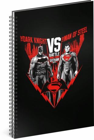 Špirálový blok Batman vs Superman, linajkovaný, A4