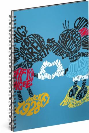 Špirálový blok Mickey – Kiss, linajkovaný, A4