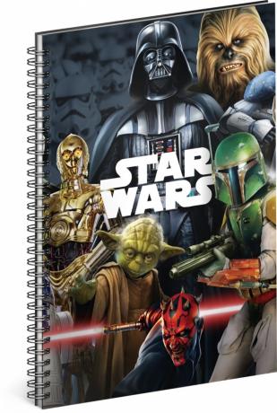 Špirálový blok Star Wars – Mix, linajkovaný, A4