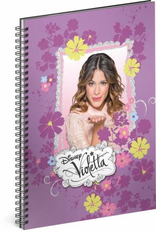 Špirálový blok Violetta – Flowers, linajkovaný, A5
