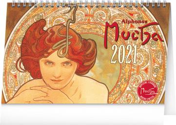 Stolový kalendár Alfons Mucha 2021, 23,1 × 14,5 cm