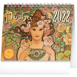 Stolový kalendár Alfons Mucha 2022, 16,5 × 13 cm