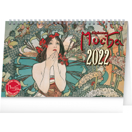 Stolový kalendár Alfons Mucha 2022, 23,1 × 14,5 cm